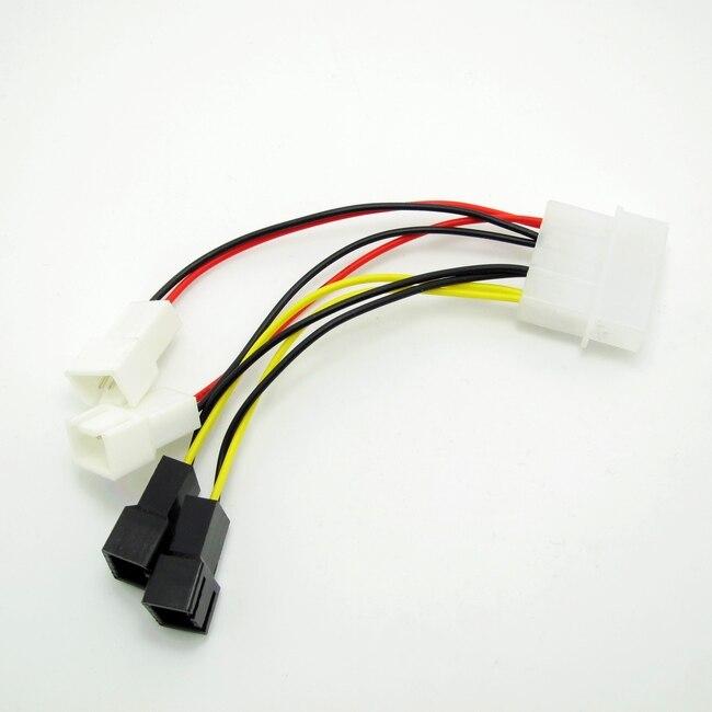 Quad 3 Pin Fans to 4 Pin Molex Power Adapter IDE 12v fan x 2 5v