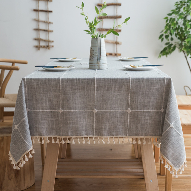 Fabulous Us 14 24 Plaid Embroidered Simple Tablecloth Solid Color Cotton And Linen Small Fresh Fabric Tassel Rectangular Coffee Table Table Mat In Download Free Architecture Designs Scobabritishbridgeorg