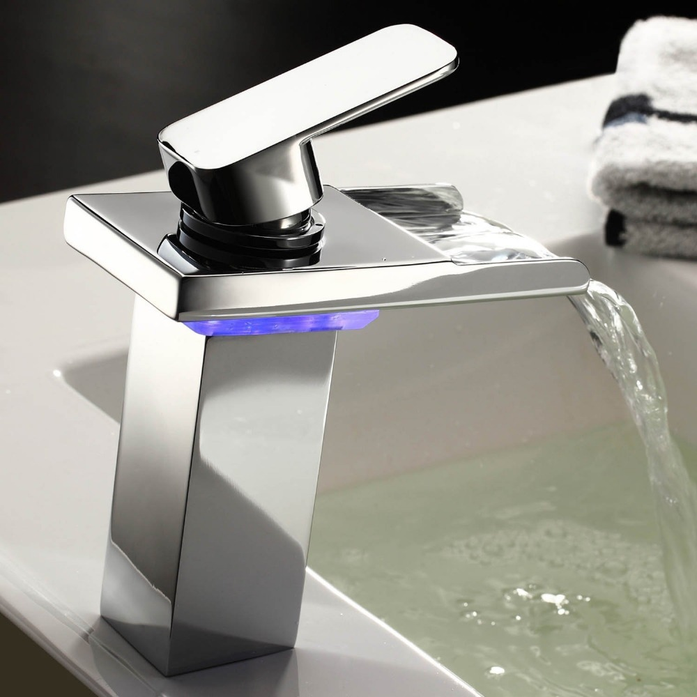 Waterfall bathroom sink - Aliexpress Com Buy Brand Grifo Robinet Krano Contemporary Solid Brass Single Handle Widespread Waterfall Bathroom Sink Cheap Led Faucets Chrome New From