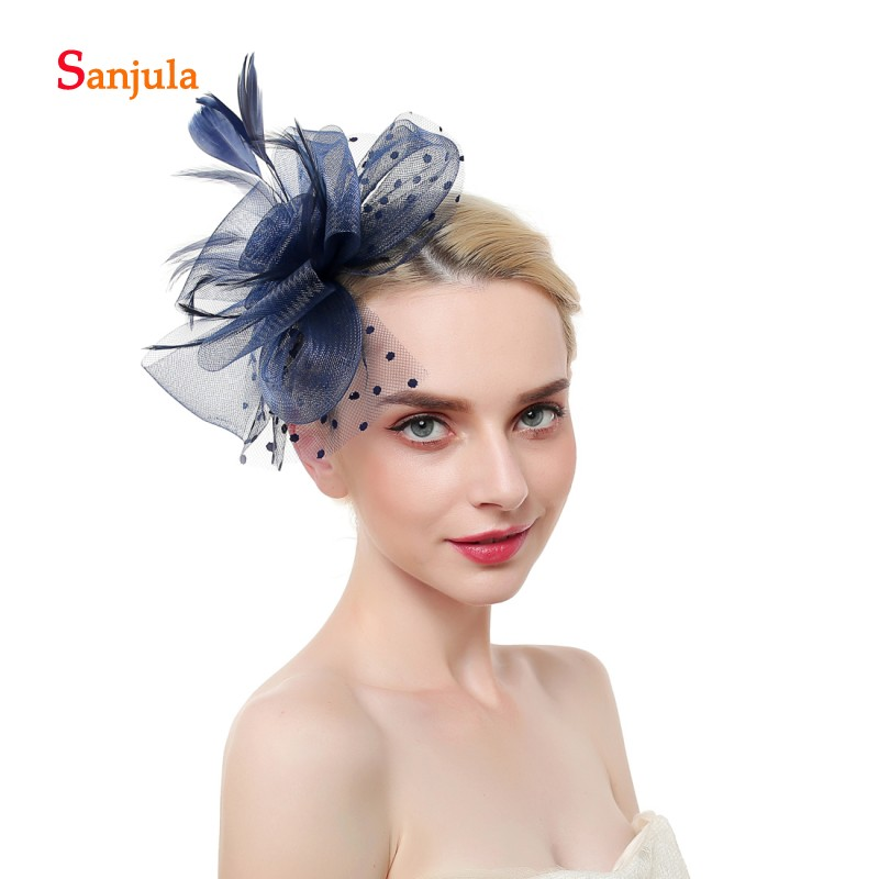 Tulle Flowers Hats with Dot Tulle Wedding Hats 2019 Fashionable Hair Accessories Feathers Women Fascinators birdcage H170