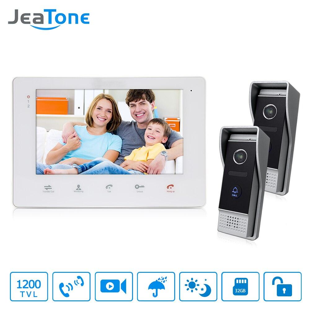 JeaTone Home Video Security Intercom 7 Couleur Vidéo Porte Téléphone IR Nuit Vision Caméra Kit pour La Maison Appartement Interphone système