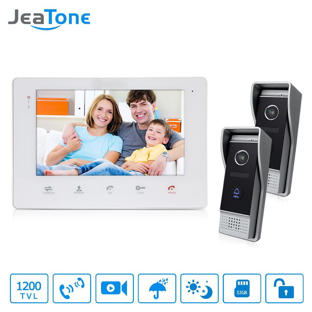 JeaTone Home Security Video Intercom 7 Color Video Door Phone IR Night Vision Camera Kit For