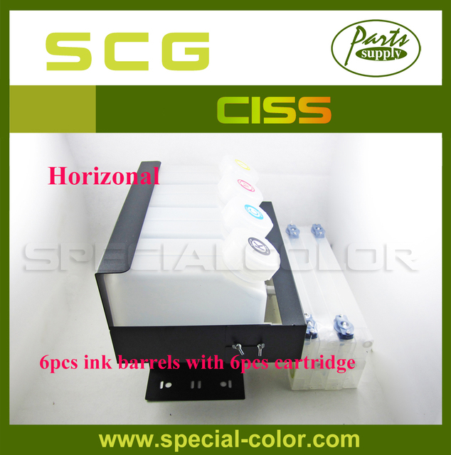 US $139 0  Horizontal CISS! Roland/Mimaki Dx4/DX5 printer Ink supply System  (6pcs Ink Barrels with 6pcs refill ink cartridge 220ml)-in Printer Parts