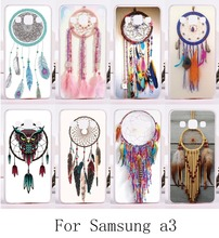 Protective case with Colorful Feather Pendant for Samsung Galaxy A3 2014 A3000 A300F cover back DIY hard and Silicon painting
