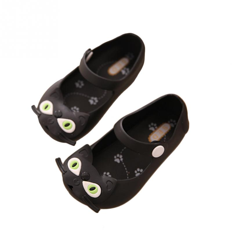 Girls Jelly Shoes Little Girl Love Walking Wear Shoes Kids Summer Sports Sneakers Cute Cat Soft Cartoon Sandals