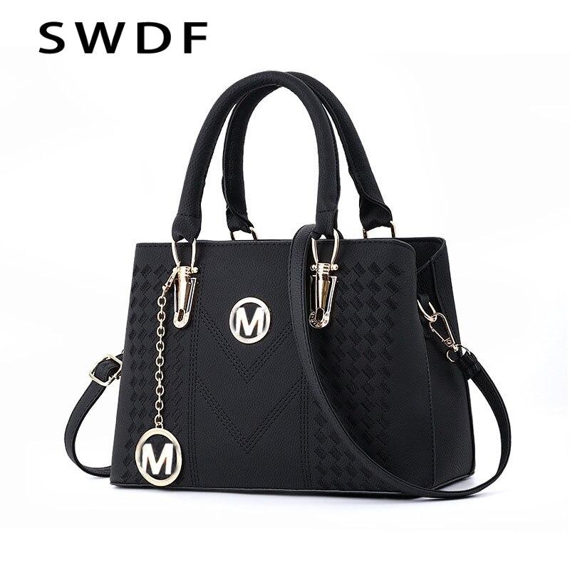 Fashion New Women's Bags 2019 PU Leather Messenger Bag Diagonal Embroidery Handbag Purse Casual Crossbody Messenger Shoulder Bag
