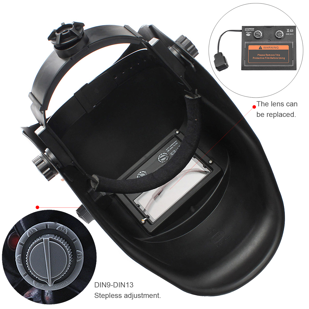 Stepless Adjust Solar Auto Darkening TIG MIG Grinding Welding Helmets / Face Mask / Electric Welding Mask Cap