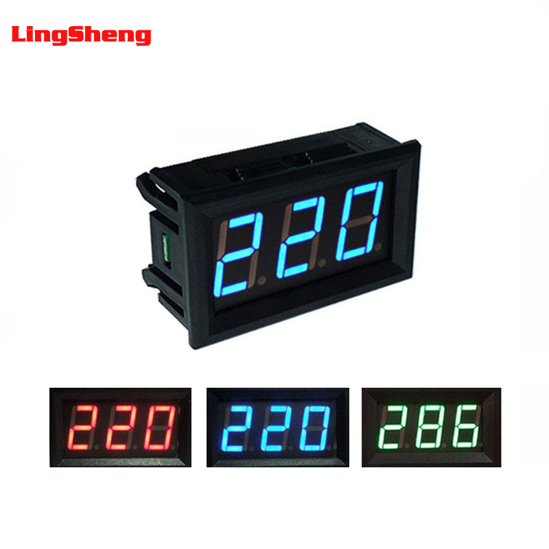 0.56 Inch LED Digital Voltmeter Voltage Meter Volt Instrument Tool AC 30-500V 2 Wires Red Green Blue Display 110V 220V DIY