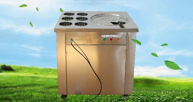 New type 220V 50Hz one pan fry milk machine,fry fruit ice cream machine ice pan machine with 6 dismountable box Pedal defrost