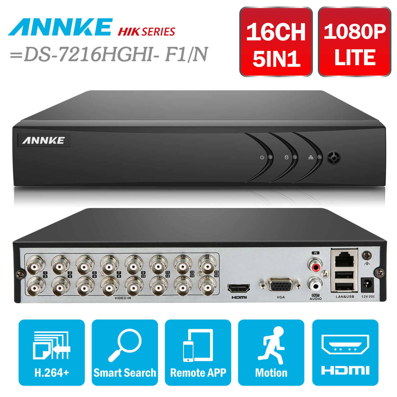 ANNKE 16CH 1080N 5в1 CVBS TVI CVI AHD ip-сеть HD TVI H.264 + DVR 2 ТБ для системы видеонаблюдения камеры безопасности = HIK DS-7216HGHI-F1/N