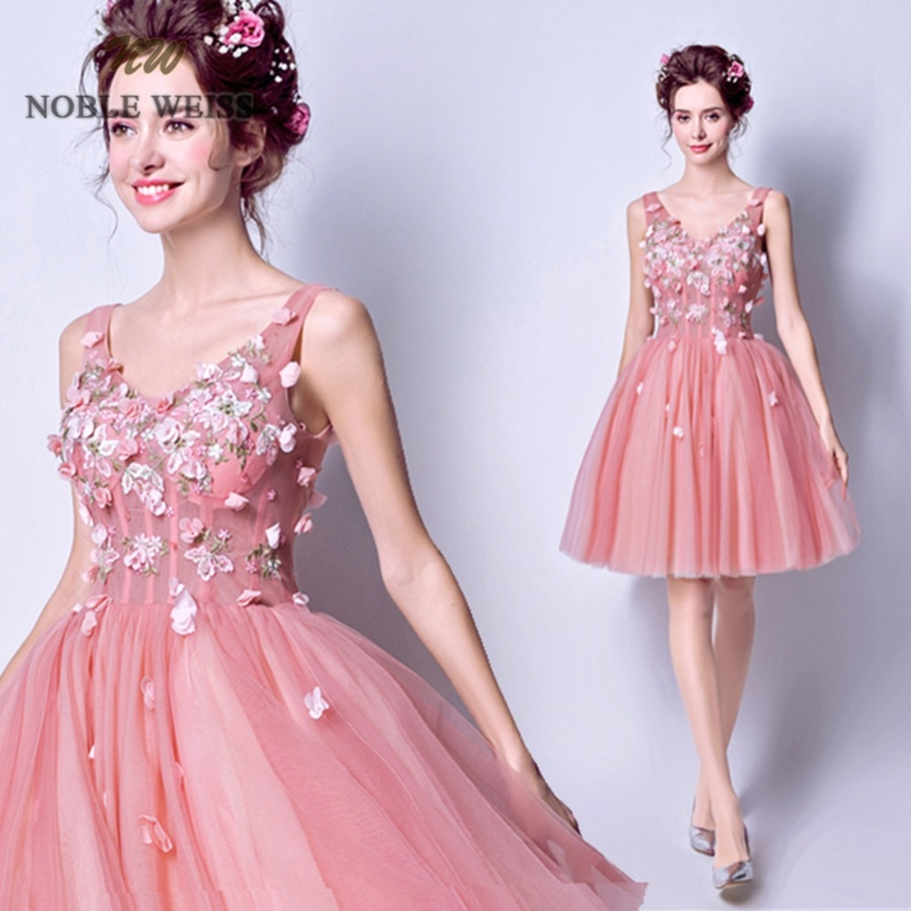 prom     dresses   sexy flower a-line pink   prom     dress   short tulle v-neck bare back see through   prom     dress   women vestidos de gala