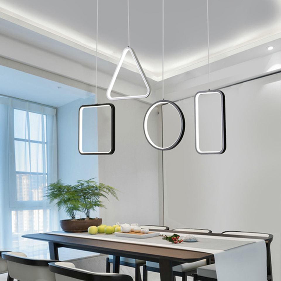 Modern LED Pendant Lights Dimmable Geometric art dining room hanging lamp Bar studyroom Remote Control suspension luminaire