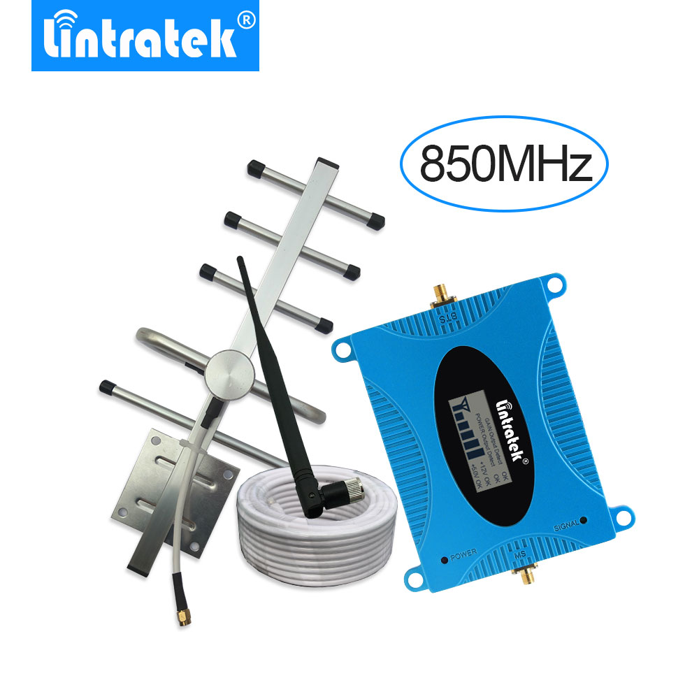 Lintratek 3G UMTS 850mhz Signal Repeditor Set Band 5 LCD Display Mobile Phone Booster Repeater Gsm 850 Yagi Antenna+10m Cable -