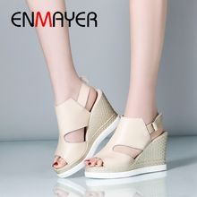 ENMAYER Gladiator Women Sandals Summer 2019 High Heel Open Toe 3 Colors Zapatos De Mujer Woman Fashion Size 34-43 LY1601