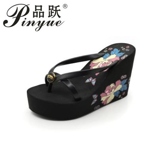 47f8c8002a97a ASILETO Summer New Bohemia Satin Slope Heel Beach Female Flip Flops Print  Flower Shoes Women Slippers ...