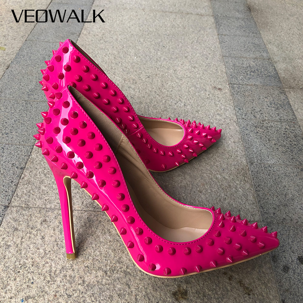 Veowalk Rose Pink Women Sexy Punk Spikes High Heels Italian Style Ladies Pointed Toe Rivets Stilettos Pumps Slip On Party Shoes