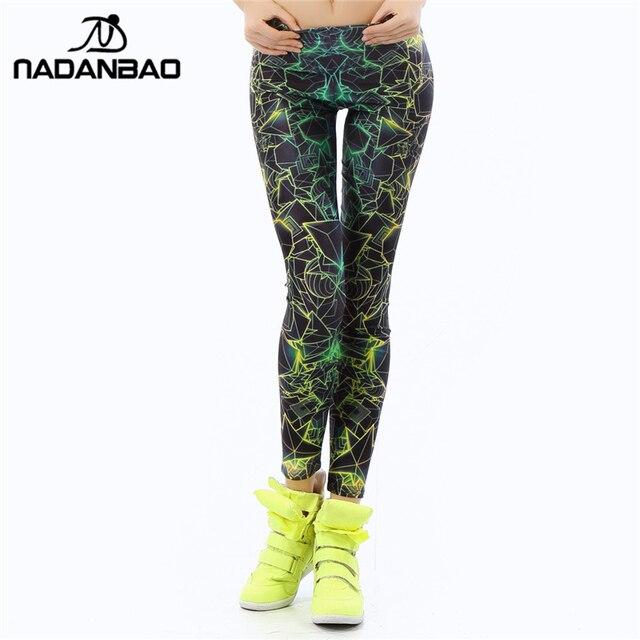 NADANBAO wholelsales Новая Мода Женщины леггинсы 3D цветной Печати legins Ray флуоресценции леггинсы брюки леггинсы для Женщин