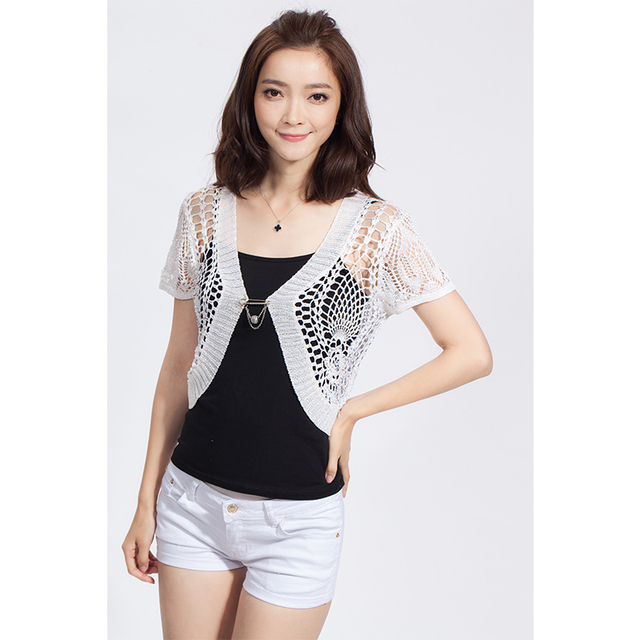 Fashion 2016 Women Summer Shrugs Crochet Shrug Sweater Ladies ...