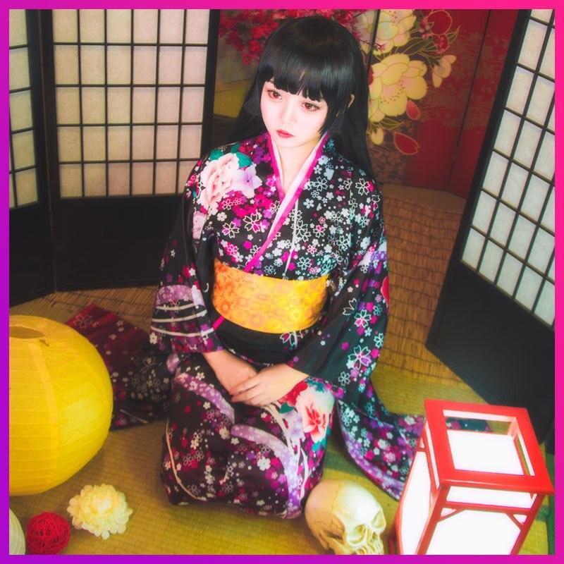 Halloween Cosplay Costumes Vintage traditionnel femmes fleur Yukata robe classique japonais femme Kimono bain Roeb robes avec Obi