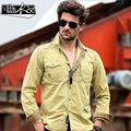 2017 spring men fashion military tooling shirt chest pockets labeling leisure shirt square collar long sleeve casual shirts men