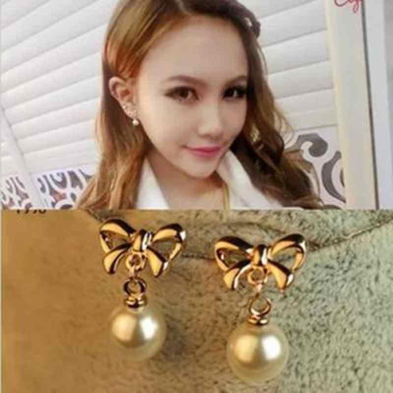 Nueva versión coreana de los Pendientes pendiente de lazo de oro Pendientes de perlas joyería Brincos Boucle D'oreille Pendante Femme Pendientes