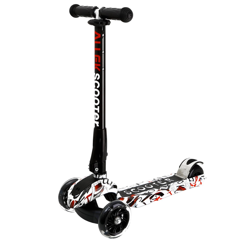 Trottinette 3 roues réglable en hauteur PU roues clignotantes trottinette avec système de pliage breveté pour enfants de 3-17 ans