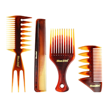 4pcs/set Professional Double Side Tooth Combs Fish Bone Shape Hair Brush Barber Dyeing Cutting Man Hairstyling Tool