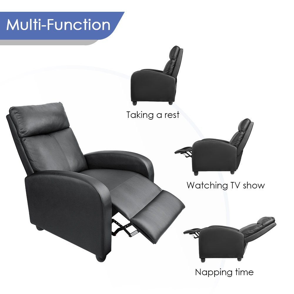 Modern Living Room Recliners Us 129 99 Homall Single Sofa Recliner Chair Padded Seat Black Pu Leather Living Room Recliner Modern Sofa Seat Black In Living Room Sofas From