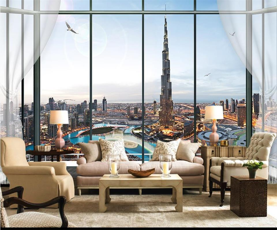 Painting Supplies & Wall Treatments Inventive Custom 3d Photo Wallpaper Mural Living Room Burj Al Arab Window 3d Photo Painting Sofa Tv Background Wall Non-woven Wall Sticker Home Improvement