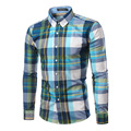 100% Cotton Mens Plaid Shirt 2016 New Mens Slim Long Sleeve Dress Shirts Casual Mens Shirt Chemise Homme Camisa Social 4XL 6005