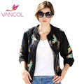 Vancol Jackets Embroidery With Unique Multicolored Phoenix Bird Pattern Short Bomber Jacket 2016 New Women Casual Coat Outerwear