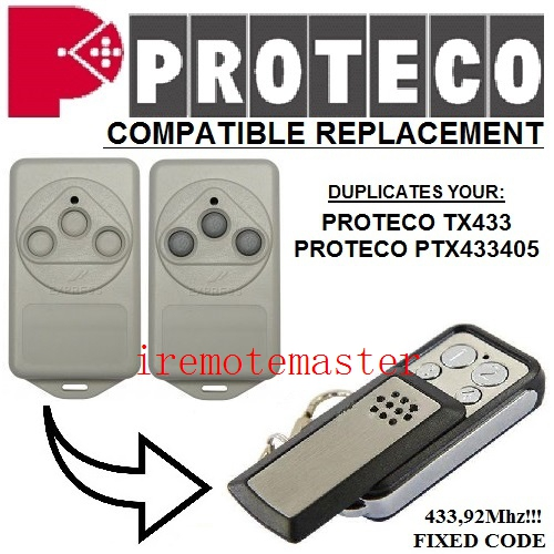 Replacement remote for PROTECO TX433,PTX433405 433,92MHZ FIXED CODE ata ptx5 tricode replacement remote 1234button ptx 5 radio contol remote 433 92mhz 434 37mhz 433 37mhz