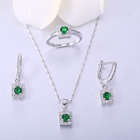 ZHE FAN Green Glass Pave AAA Zirconia Fashion Small Jewelry Set Women 3 Pcs Necklace Earrings Ring Sets For Lady Valentines Day