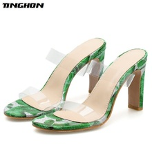 TINGHON New Women Pumps PVC Square Heel Transparent Ruffles Slip-On Summer Round Toe Wedding Daily Size 35-40