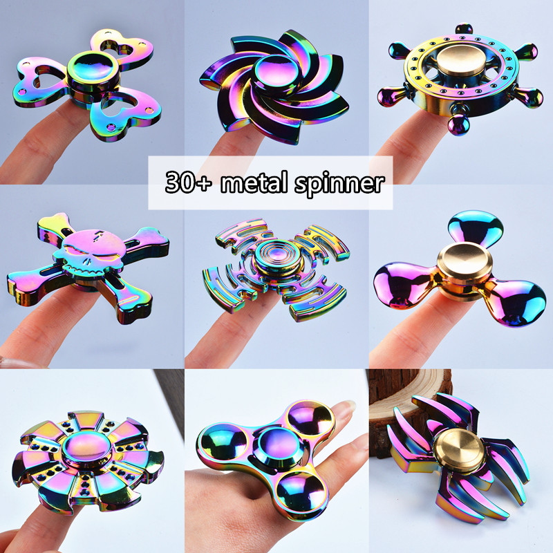 2017 Fidget Spinner Hot sell rainbow 9-horn Hand Spinner colorful metal Zinc alloy Gift Toys funny Anti-stress kids Spinners cool game genji darts alloy metal weapon rotatable darts cosplay props for collection fidget spinner hand anti stress kf028