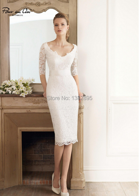 Newest Style Simple Lace Cap Sleeve V Neck Half Knee Length Short Wedding