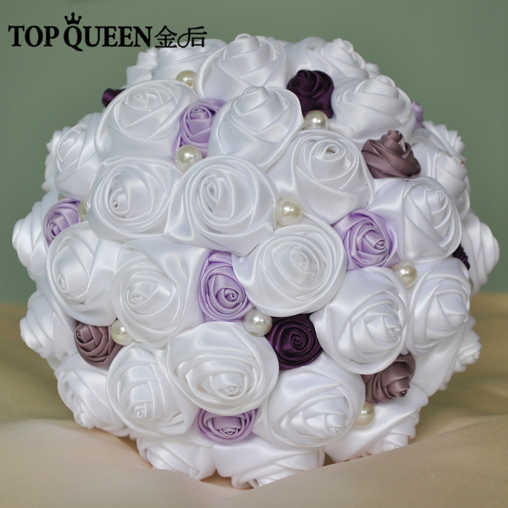 Topqueen f5 flower bride stunning wedding flowers bridesmaid bridal topqueen f5 flower bride stunning wedding flowers bridesmaid bridal bouquets artificial white rose purple rose wedding bouquet in wedding bouquets from izmirmasajfo