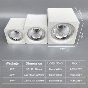 Image 4 - [Dbf] 角白/黒無カット表面実装ダウンライトハイパワー10ワット20ワット30 3w天井のスポットライト3000k/4000k/6000 18k AC110V 220v