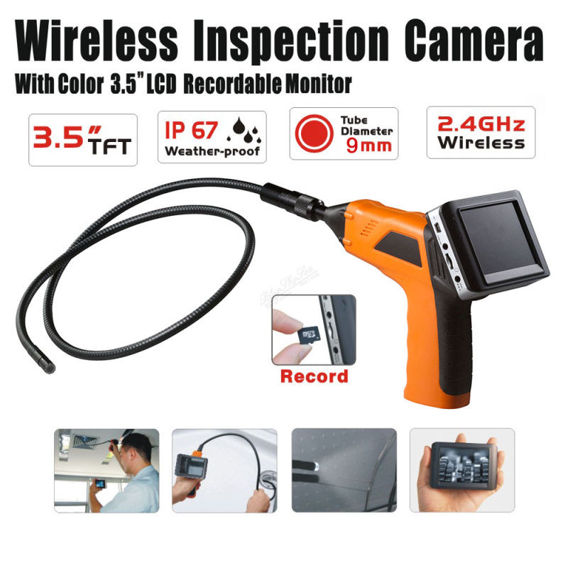 Free shipping Wireless Inspection Camera 3 5 Lcd Monitor Endoscope Snake Cam Video Recording