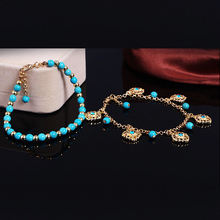 Hot Boho 2 Layers Rhinestone Flower Beads Tassel Turquoise Foot Chain Anklet Bracelet For Women 5SFU 6KD4 7FH9 BCUZ