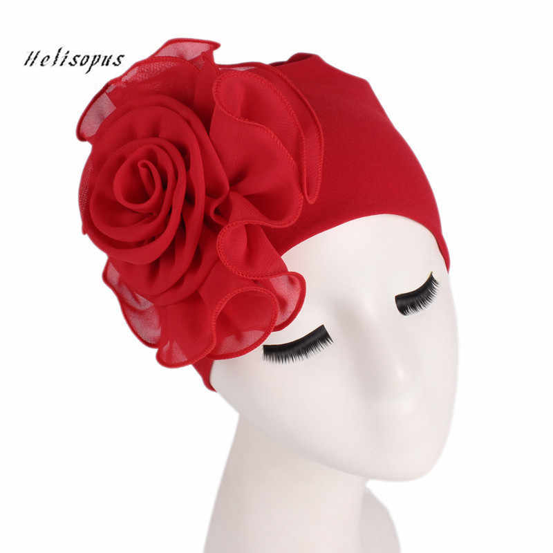 Helisopus 2019 Women New Large Flower Stretch Scarf Hat Ladies Elegant Fashion Hair Accessories Chemo Hat Turban Bandanas