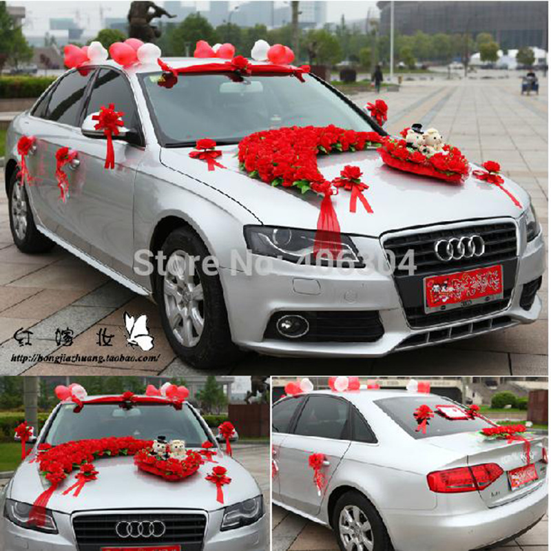 Artificial Flowers Setlotwedding Car Decoration Set REDpink - Audi car decoration