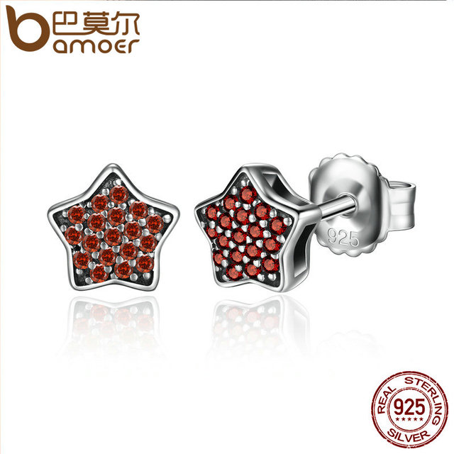 Sterling Silver Red Shinning Star Clearly CZ Stud Earrings