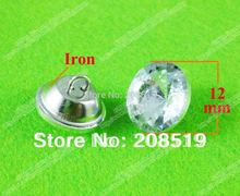 RB001 Free shipping 12mm glass buttons 300pcs round shape transparent rthinestone for garment