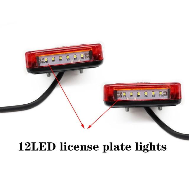 2pcs 12V Trailer Truck Caravan 26LED Taillight Tail Light Turn Signal Indicator Brake Stop Lamp Number Plate Light Rear Reverse 5