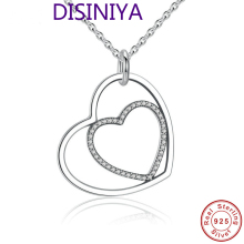 цена 100% Real 925 Sterling Silver Heart To Heart Romantic Pendant Necklaces With Shiny Clear CZ For Women Jewelry Girlfriend Gift онлайн в 2017 году