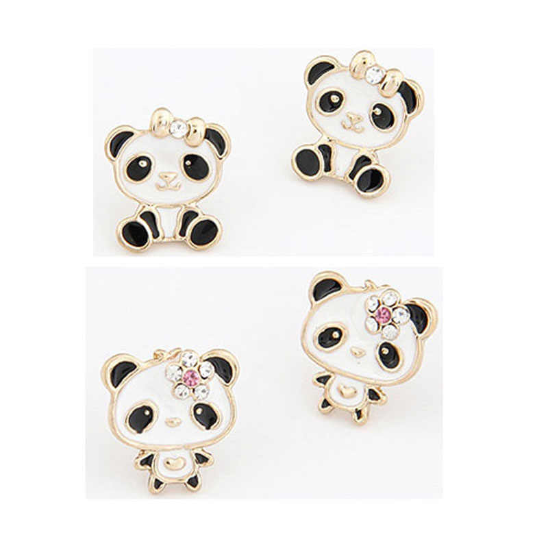 New Cute Panda Earrings Lovely Animal Enamel Rhinestone earrings cartoon Bear Earrings for girl women Fashion Jewelry wholesale
