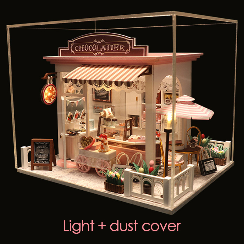 DIY MINI Doll House Miniature DIY Dollhouse With Furnitures Wooden House Waiting Time Toys For Children Birthday Gift C007