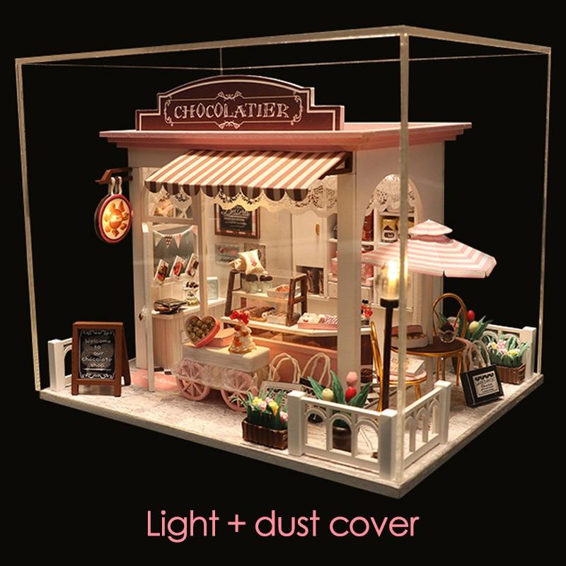 Mini casa de bonecas em miniatura diy, casa de bonecas com móveis, casa de madeira, brinquedo de tempo de espera para crianças, presente de aniversário c007