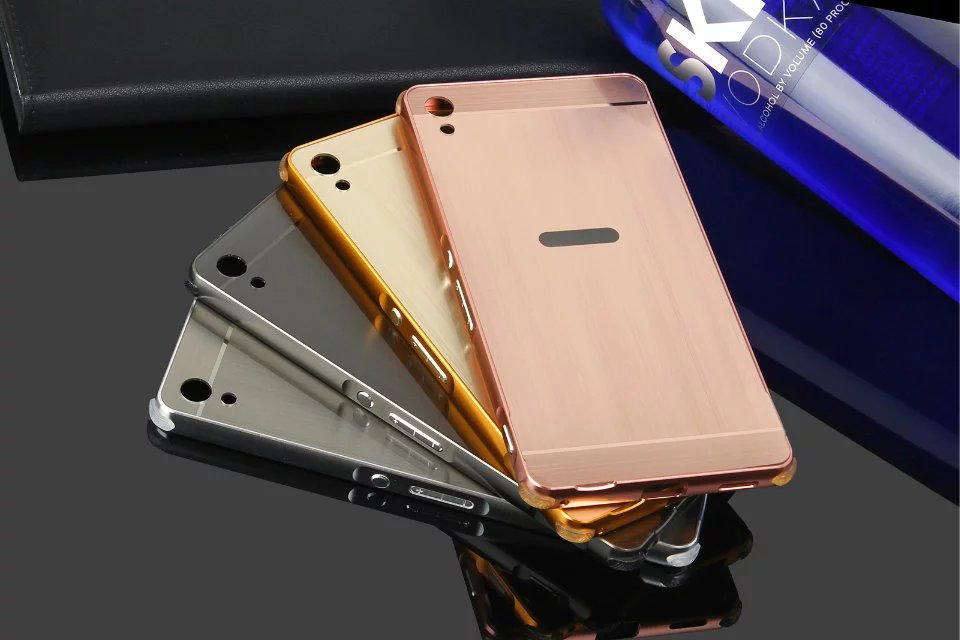 For Sony XA Ultra 6 0Case Mirror Metal Frame Brushed Back Cover Case for Sony Xperia